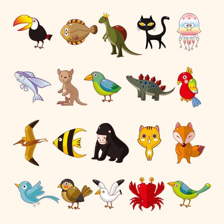flying monkey: set of animal icons