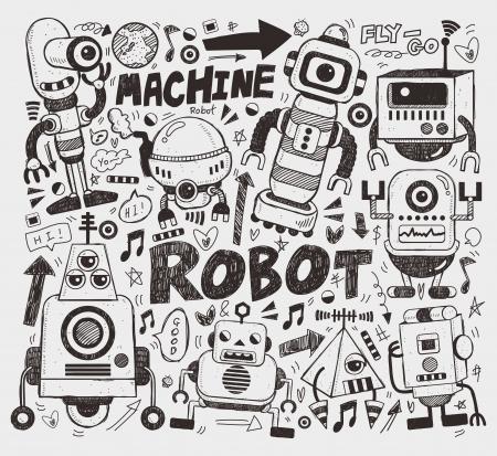 robot: doodle element robotem Ilustracja