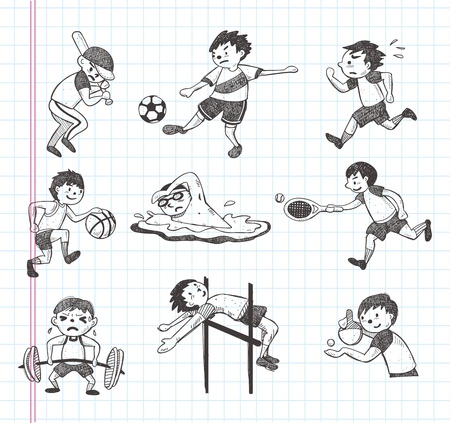doodle sport player icons Vector