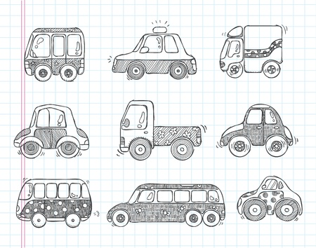 doodle transport car icons