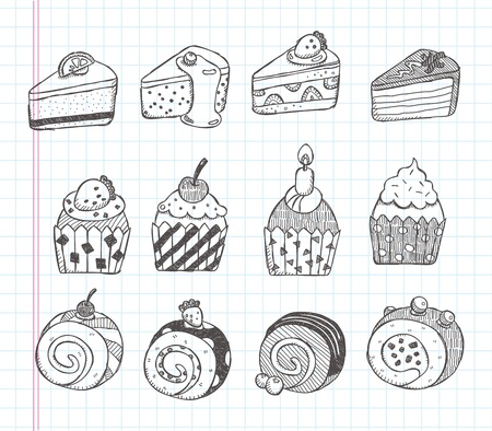 doodle cupcake icons Vector