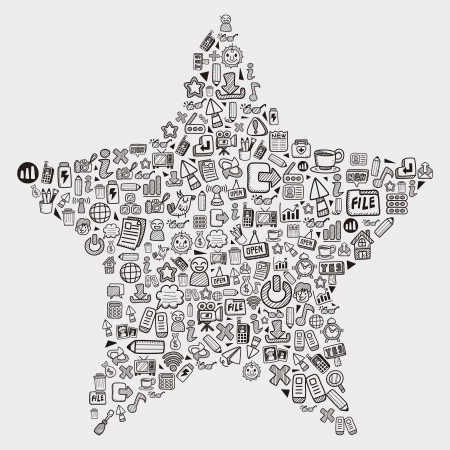 mobile icon: doodle pattern - web star Illustration