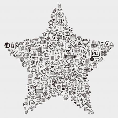 communication icons: doodle pattern - web star Illustration