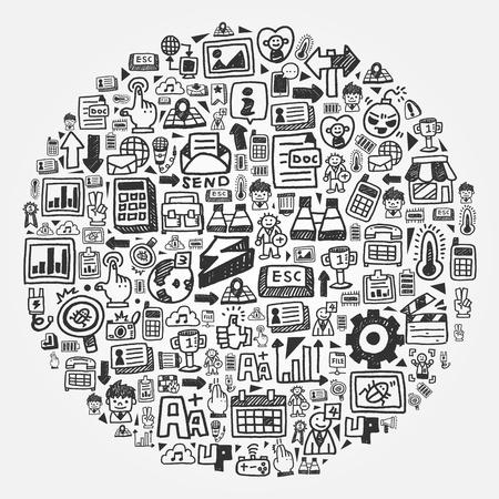icono computadora: modelo del doodle - Círculo web Vectores