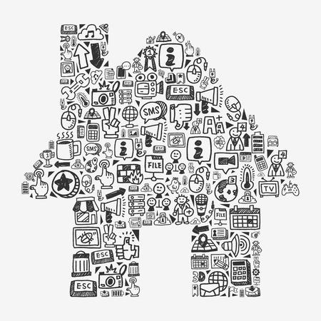 doodle pattern - web house Çizim