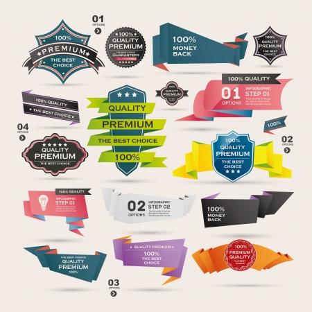 Set van Retro linten en labels, Origami banners