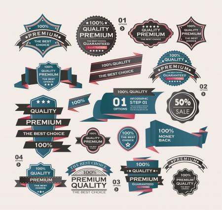 badge: Set Of Vintage labels ribbon , retro style . design elements. Illustration