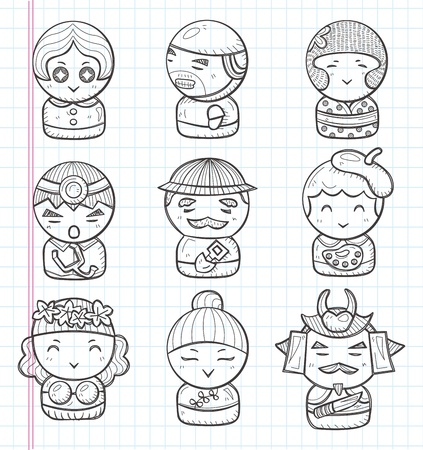 doodle people icon Vector