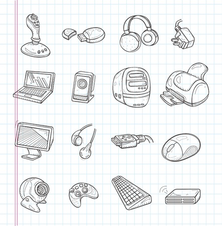 doodle computer icons Stock Vector - 21012594