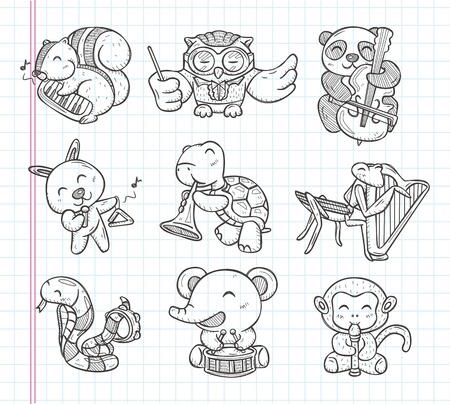 музыка: каракули иконки музыку группы животных