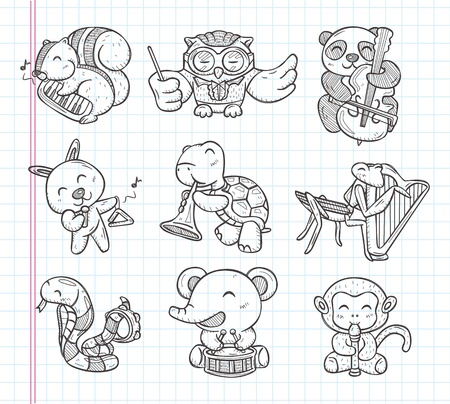 doodle animal music band icons Vector