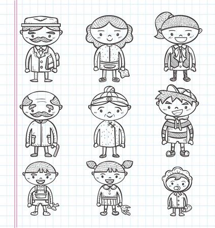 doodle family icons, illustrator line tools drawing Stock Vector - 21012736