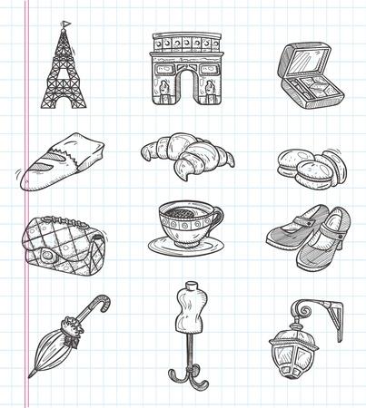 doodle Paris element icons Vector