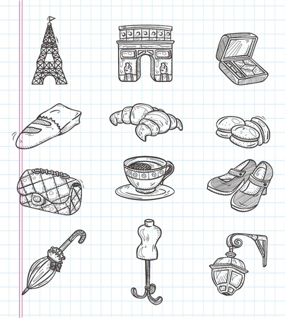 doodle Paris element icons Ilustracja