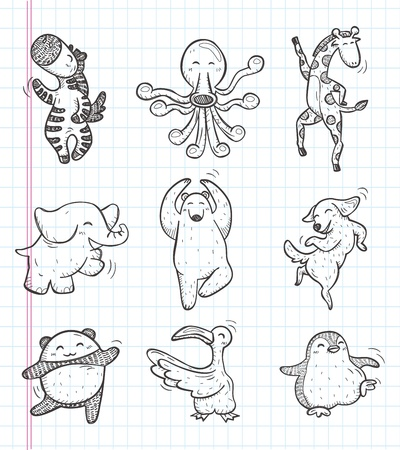 doodle animal dance icons Vector