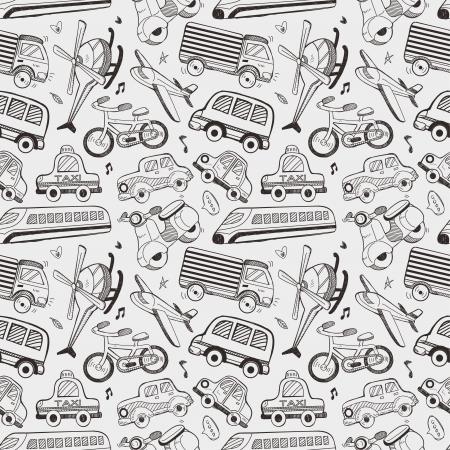 naadloze doodle vervoer patroon Stock Illustratie