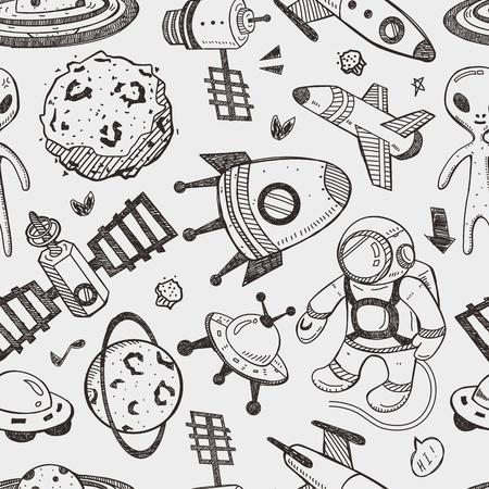 seamless space pattern Ilustração