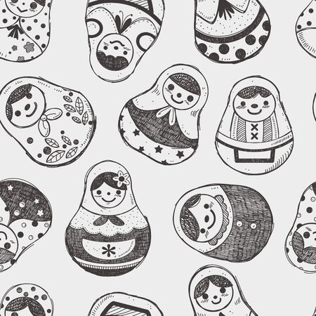 seamless doodle Russian Doll pattern Vector