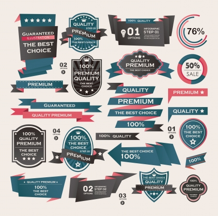 Set Of Vintage labels ribbon , retro style . design elements. Vector
