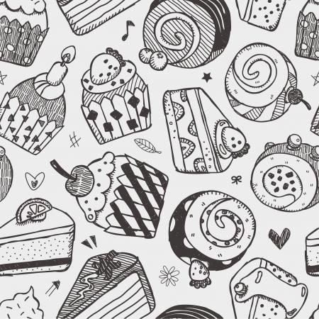 seamless cake pattern 일러스트