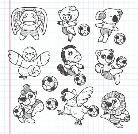draft horse: doodle animal soccer player element