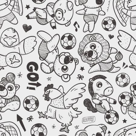 seamless animal soccer player pattern Vector