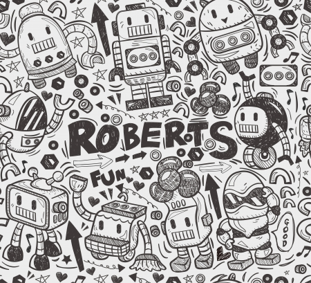 seamless robot pattern, illustrator line tools drawing Vector