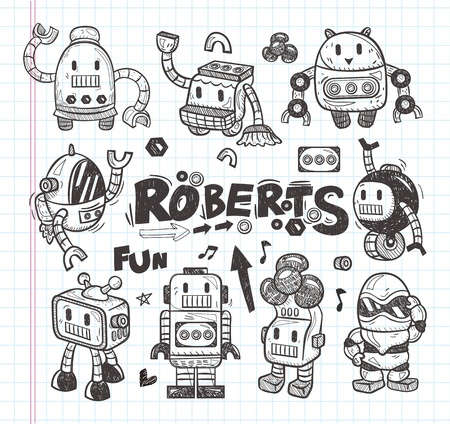 space robot: set of doodle robot icons, illustrator line tools drawing