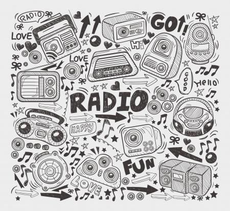 fm radio: doodle radio elements Illustration