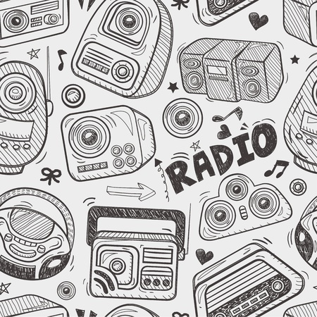 am radio: seamless doodle radio pattern