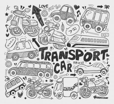 doodle transport element Ilustração