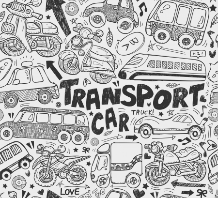 seamless doodle transport pattern   Vector