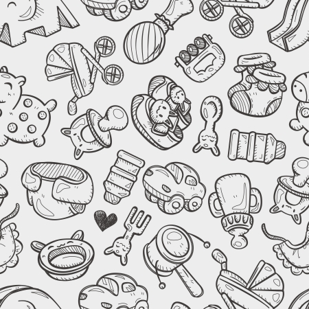 seamless doodle baby toy pattern Vector