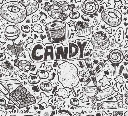 seamless doodle candy pattern 向量圖像