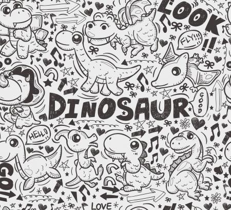 herbivorous animals: seamless doodle dinosaur pattern