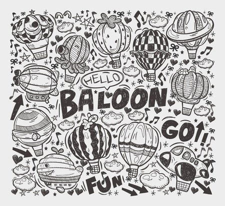 doodle hot air balloon elements Vector