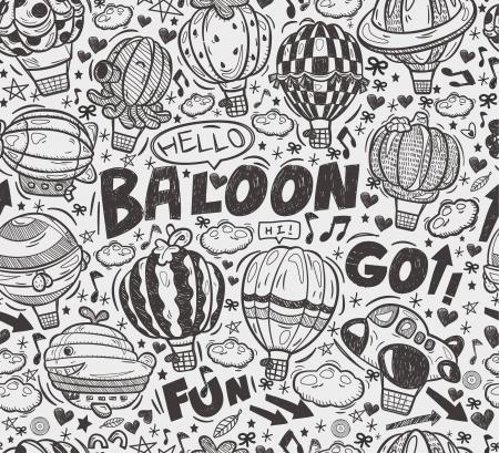 seamless doodle hot air balloon pattern Vector