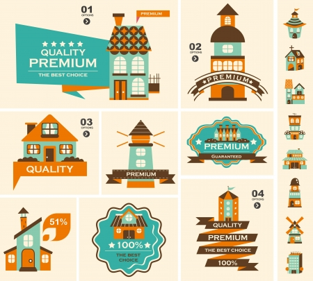 residential market: Retro house label set