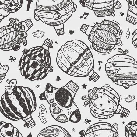 seamless doodle hot air balloon pattern Vector