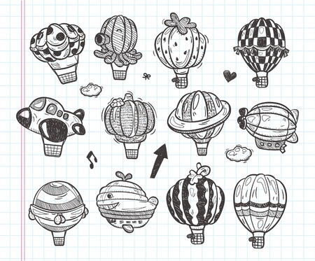 doodle hot air balloon icon Vector