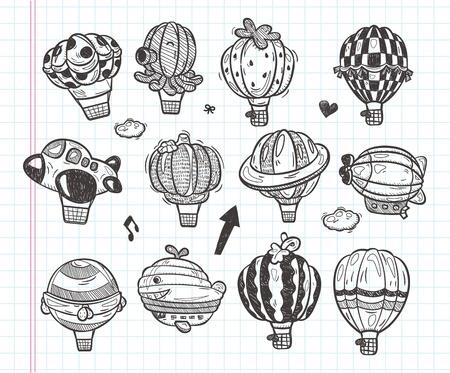 doodle hot air balloon icon Vector