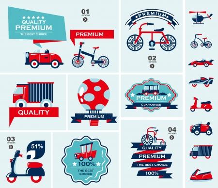 autom�vil caricatura: conjunto de banners de viaje