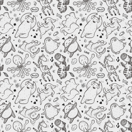 seamless animal dancing pattern Vector