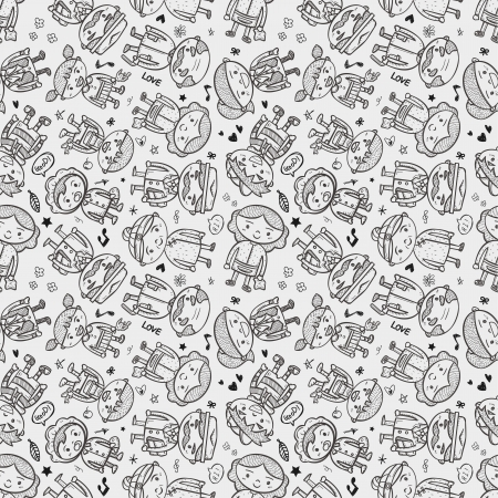 seamless doodle family pattern Vector