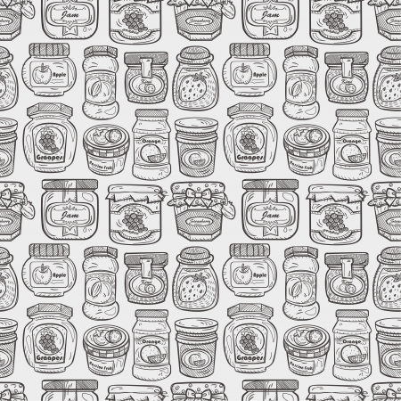 jam jar: seamless doodle jam pattern Illustration