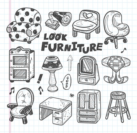 doodle Furniture icons Vector