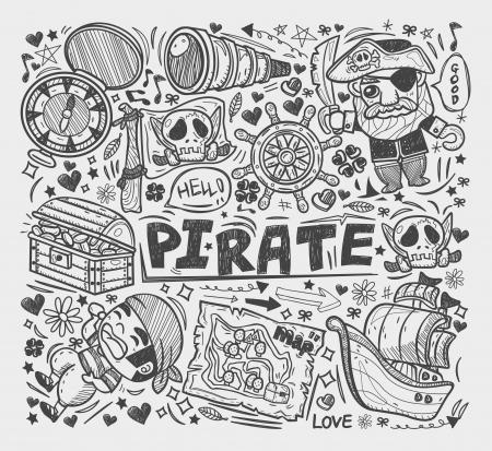 doodle pirate elememts Vector