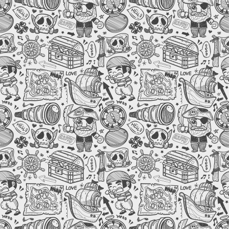 seamless doodle pirate pattern Vector