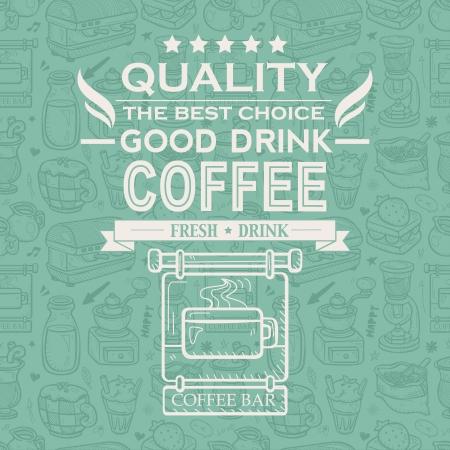 chicchi di caff�: Retro Vintage Caff� sfondo con Tipografia Vettoriali
