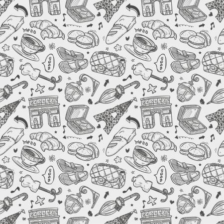 macaron: nahtlose Muster doodle Paris